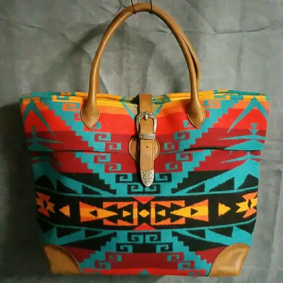 Pendleton Bag Southwest Purse Leather Aztec Love this bag by Pendleton! Big enough to carry tablet/laptop! Great as purse or overnight bag. Beautiful colors! Pendleton Bags Shoulder Bags