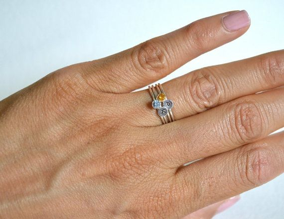Set Four Sterling Silver Rings Personalized Ring by Fondeur