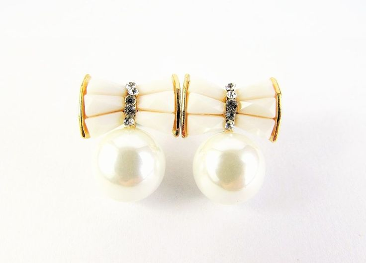 Gold Plated 18K GP Crystal Pearl Bow Stud Earrings Women Jewellery