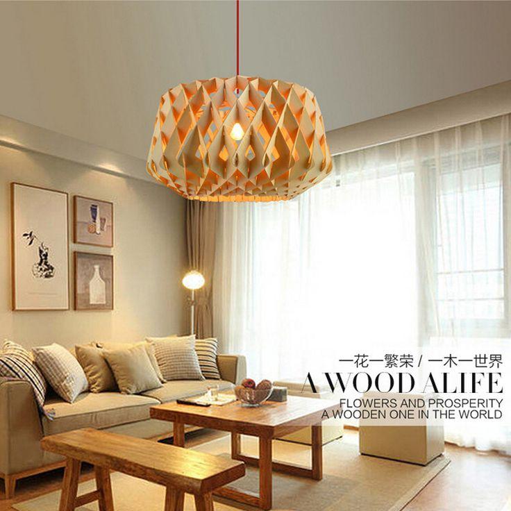 Big size houten creatieve moderne stijl hout lampenkap kroonluchter verlichting E27 lamphouder nordic handgemaakte verlichting voor art deco