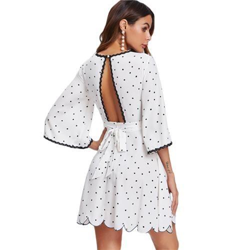 Flare Sleeve Open Back Scalloped Elegant Polka Dot Dress White Three Quarter Length Sleeve Sexy A Line DressSleeve Length(cm): Three QuarterPattern Type: DotD