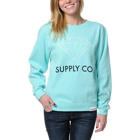 You'll shine the brightest when you rep the Diamond Supply Co. girls crew neck sweatshirt in the Diamond blue colorway.