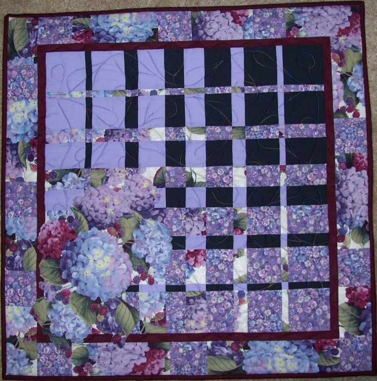 "Hydrangeas. 26"" x 26"" This is a ""convergence"" quilt, copied from some I saw at the quilt shows, with some hints and ""how-to's"" given by the lady who specializes in them. Pre-printed fabric."