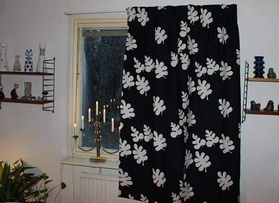 Amazing vintage retro 70s pair of black Curtain lengths with