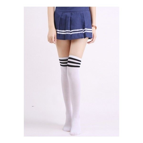 Fashion Three Stripes Over Knee High Stockings ($6.99) ❤ liked on Polyvore featuring intimates, hosiery, socks, stripe socks, striped socks, stripe thigh high socks, knee high hosiery and knee high socks