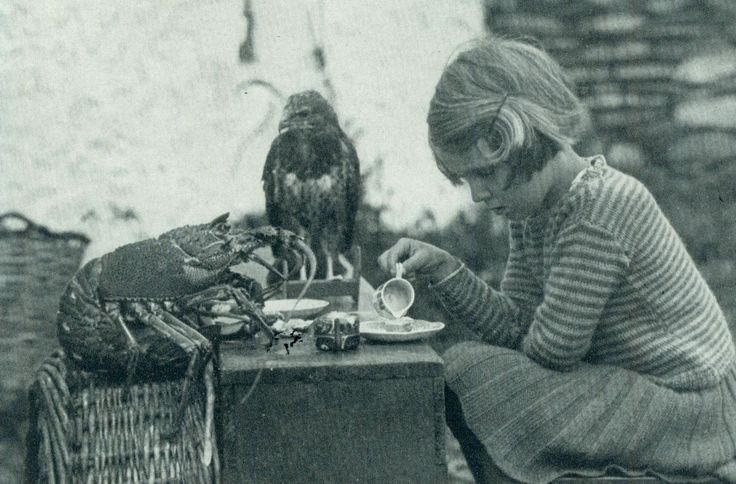 """Anne and her family lived alone on an island. She enjoyed having tea time with her friends the spiny lobster and baby hawk.""    - National Geographic, August 1938: Families Living, Teas Time, Friends, National Geographic, Tea Parties, Baby Hawks, August 1938, Teas Parties, Thorns Lobsters"