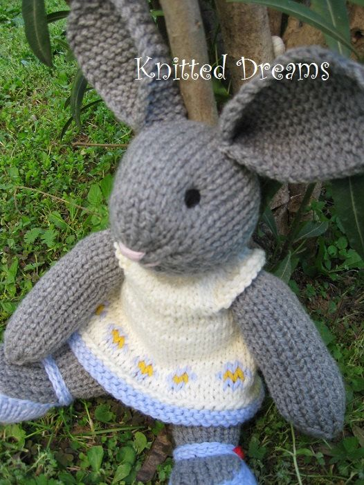 Handmade Knitted Easter Bunny Stuffed Toy 135 35cm tall by tatocka, $44.00