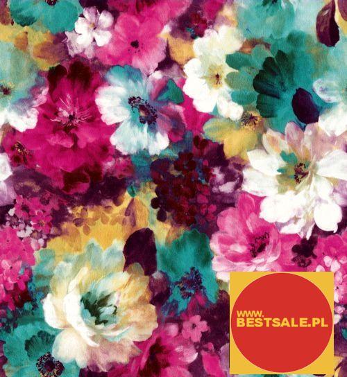 Hurtownia,alaAlkantara,tkaniny tapicerskie,materiały tapicerskie - Tkanina w kolorowe kwiaty
