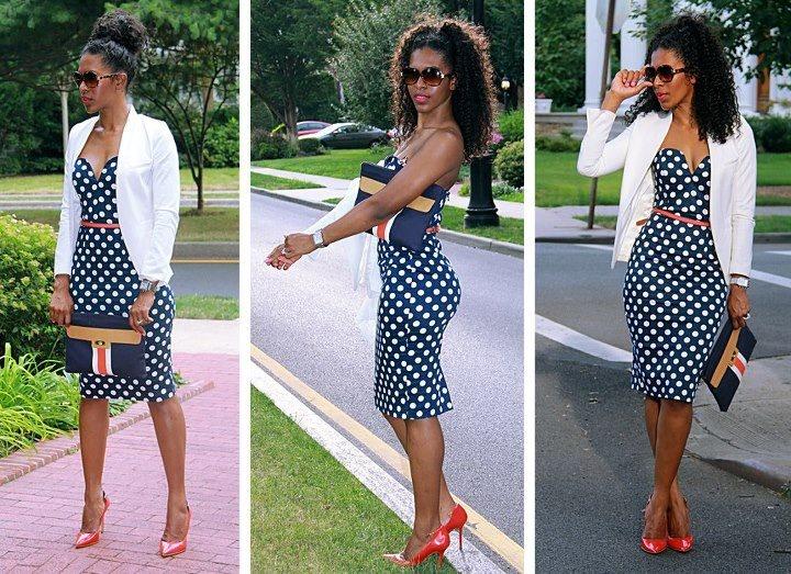 Polka dots; navy blue; white; blazer; summer outfit