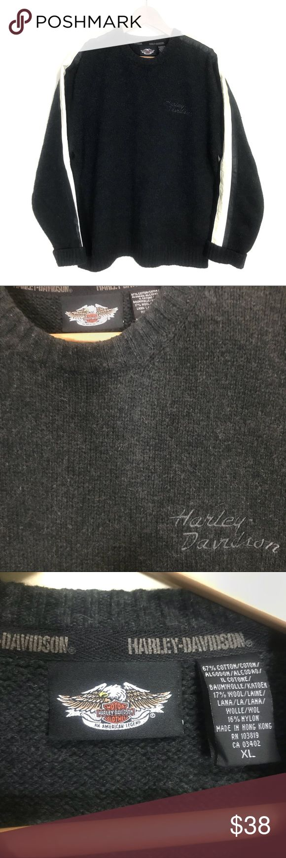 Harley Davidson-Motorcycles Sweater Vintage Men's Harley Davidson Motorcycles wool long sleeve sweater, dark grey. Cream and brown on sleeves, Harley Davidson stitching on left chest. Size XL, excellent pre-owned condition! Offers and bundles welcomed! Have a blessed day! Harley-Davidson Sweaters Crewneck #vintagemotorcycles