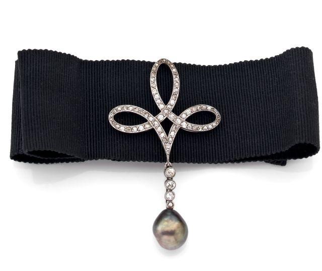 Natural pearl and diamond choker c.1900