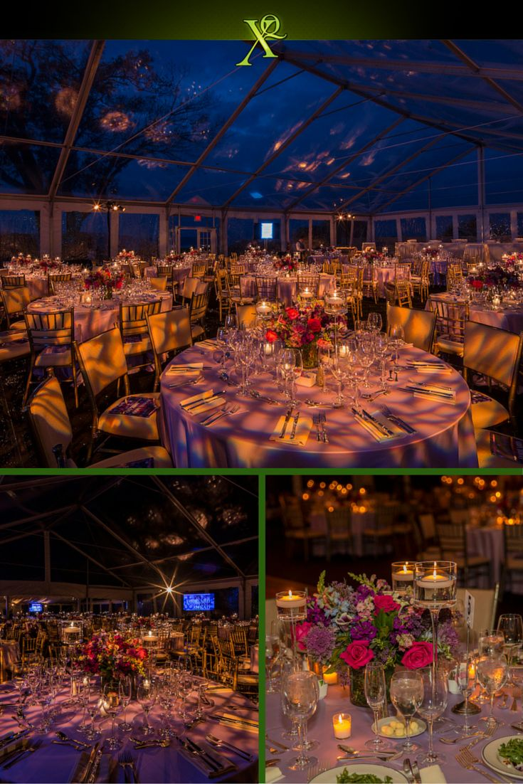 It was an honor to provide the design and decor for Phelps Memorial Hospital's 28th Annual Champagne Ball. The lighting design brought in a hint of the gorgeous wooded surroundings, made even more breathtaking by the glass ceiling above the 400 guests, giving a view of the night sky. The floral centerpieces were arranged with rich autumnal colors of dark pink, deep purple, forest greens and more!   Thanks to Arnold Brower for the photography! Astounding lighting design by Bentley Meeker