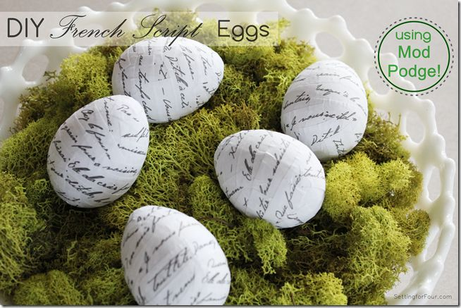 DIY French Script Eggs using Mod Podge from Setting for Four