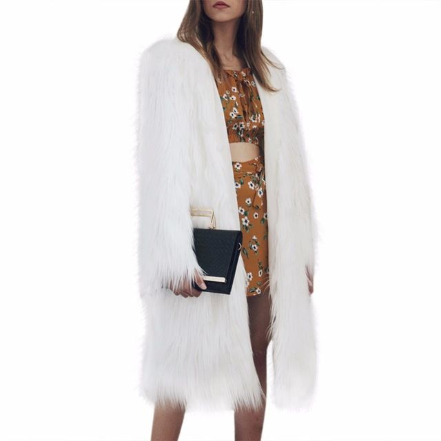Puszyste Elegancki faux fur coat kobiety Długie Puszyste ciepły długi rękaw Z Kapturem kobiet odzieży wierzchniej chic jesień zima kurtka owłosione płaszcz
