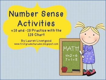 Here's a set of materials for practicing with the 120 chart. Includes a matching game (with +10 facts, -10 facts), two 120 chart puzzle worksheets, and a roll and cover game with 120 chart.