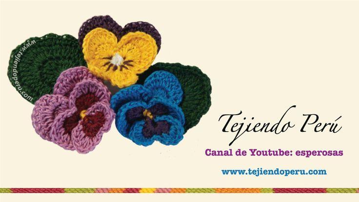 Flor Pensamiento (Pansy) tejida en crochet
