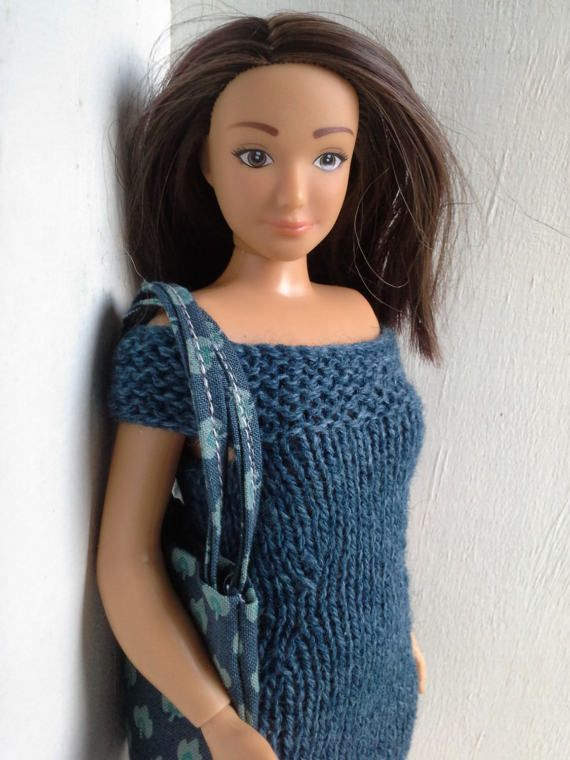 Hand knitted blue dress for Lammily and cotton by magicalcrumbs