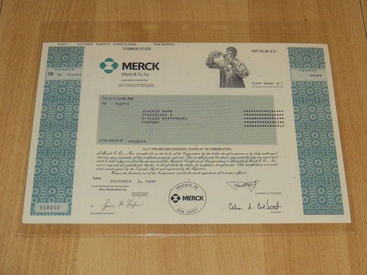 Historische Aktie - Merck & Co. 2004 - Original unentwertet Rarität