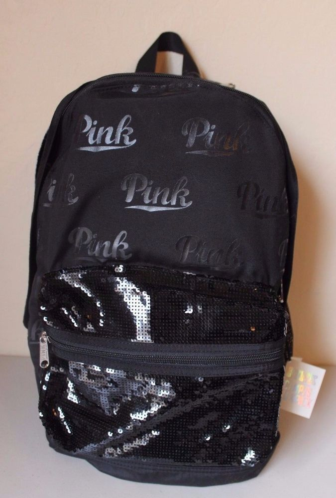 Victoria's Secret PINK Black Campus Bling Sequin Backpack - NEW #VictoriasSecret #Backpack