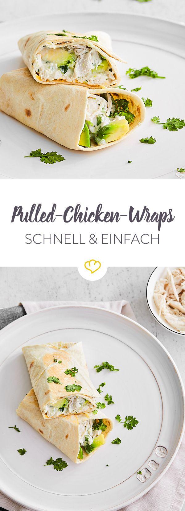 Schnelle Feierabend-Wraps mit Pulled Chicken und Avocado