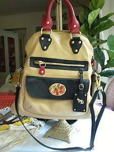 Emma Fox Large Soft Leather Foldover Tote Handbag Tan Blk Red Retails $298 | eBay