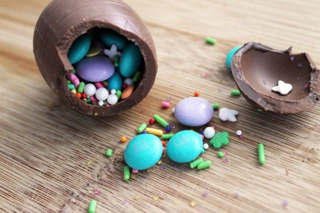 How to Make Hollow Chocolate Confetti Eggs via Brit + Co. or with a message inside