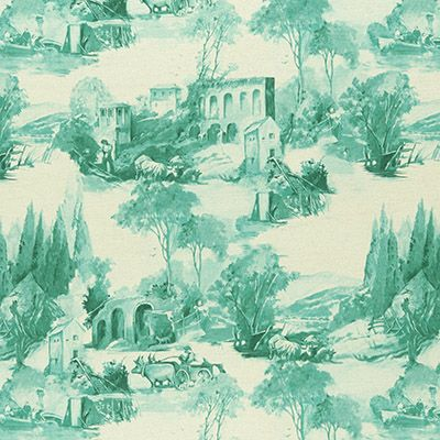 Prints Fabric - Anastacia F0997 Teal Toile Scenic Fabric Pattern