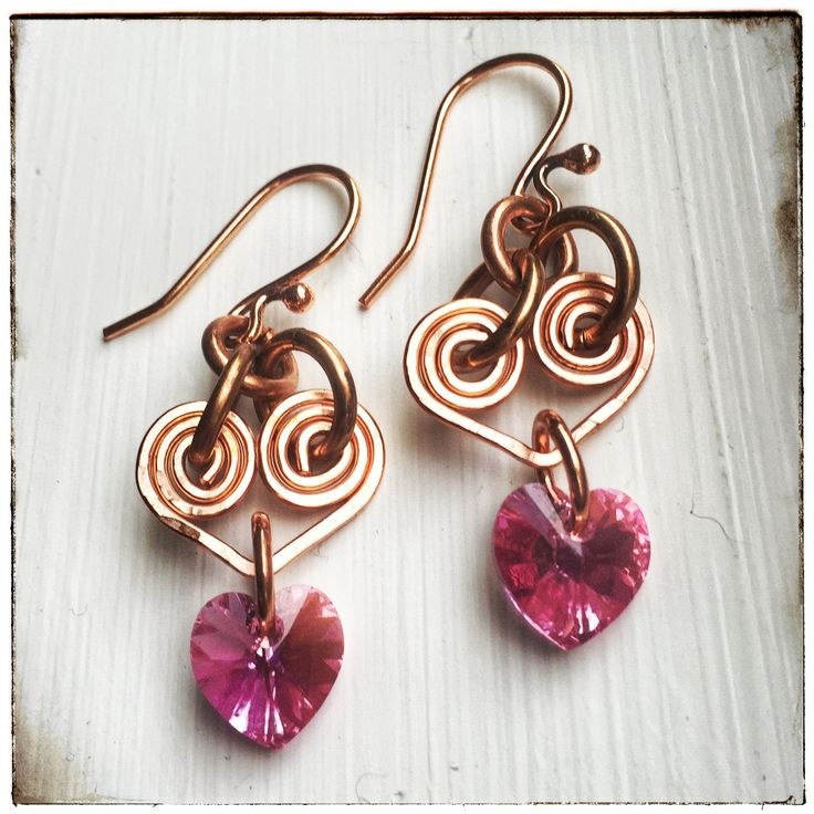 Rose Pink Hearts - Swarovski Crystal & Copper Wire Wrapped Earrings