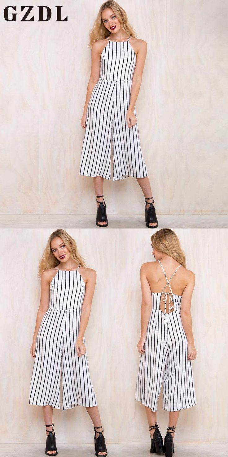 GZDL Summer Fashion Women's Spaghetti Strap Chiffon Striped Jumpsuit Casual White Off Shoulder Backless Tops Jumpsuits CL3454
