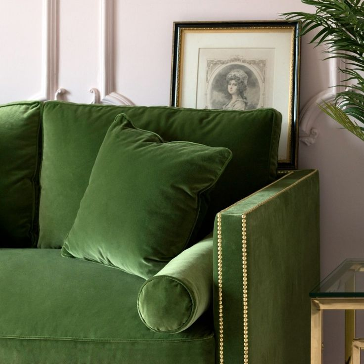 This Is A Truly Luscious Dark Green Luxury Velvet Designer Sofa It Has One Large Deeply Plush Seat Cushiontwo Plump Back Cushions Feather Filled