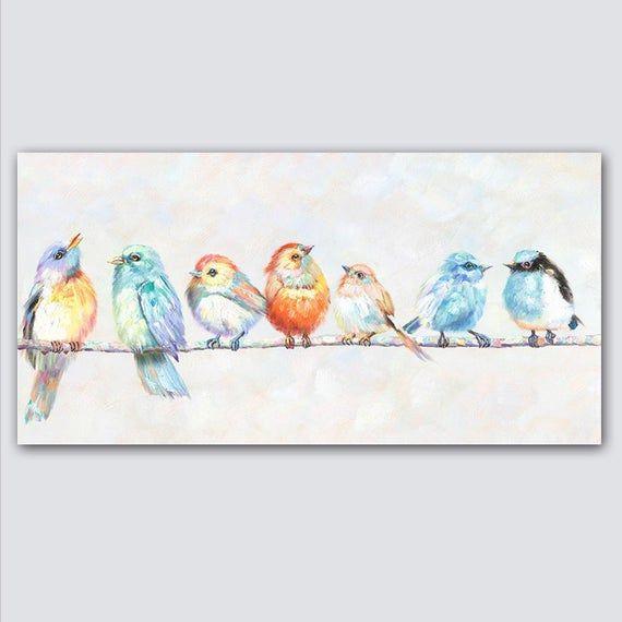 Bird Painting Bird Art Home Decor Kitchen Decor Etsy In 2020 Bird Paintings On Canvas Bird Canvas Bird Art
