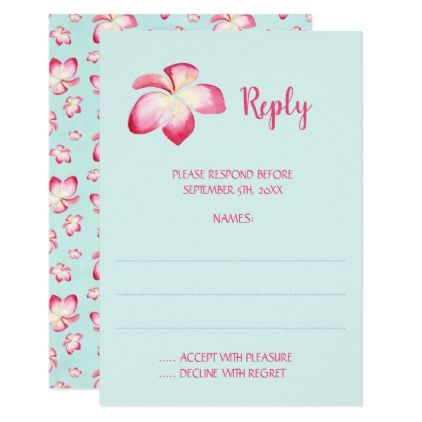 Tropical Plumeria Wedding Reply Cards - wedding invitations diy cyo special idea personalize card