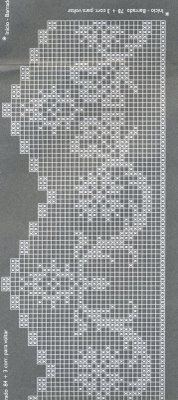 Filet crochet lace edging, scrolls with points ~~ Alkimia: GRAFICOS CROCHE FILE