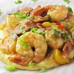 Breakfast of Champions! Old Charleston Style Shrimp and Grits -- serve with slow-cooked poached eggs for an awesome brunch!