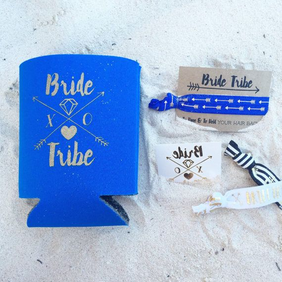 Royal Blue Bride Tribe Bachelorette Gift Set Metallic Gold Tattoo Hair Tie Drink Cooler Favors Party Favor