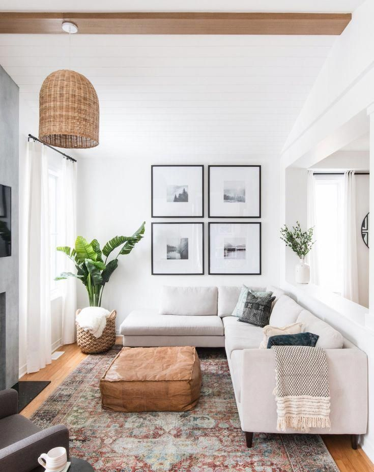 Contemporary Living Room With Cream Sofa Large Rug And Light White Curtains To Allow The Li Small Living Room Decor Small Living Rooms Modern Boho Living Room