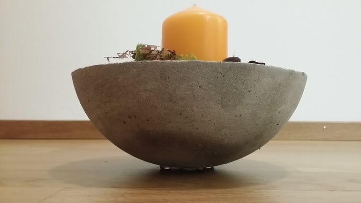 Betonschale mit Kerzendeko