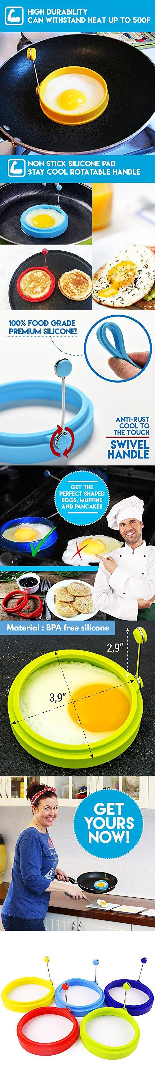 My Egg Ring   Set of 5   Innovative 3.5 Inch Silicone Egg Ring Pancake Maker Non Stick Round Cooking Mold with Handle   Premium Food Grade Heat Resistant Silicone   Color May Vary   1360