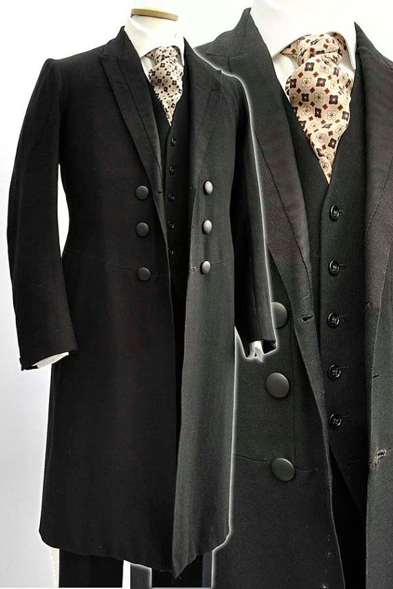 Gentlemen:  #Gentlemen's #fashion ~ Men's Antique Victorian Wool Frock Coat Day Dress, by DillyDandy.
