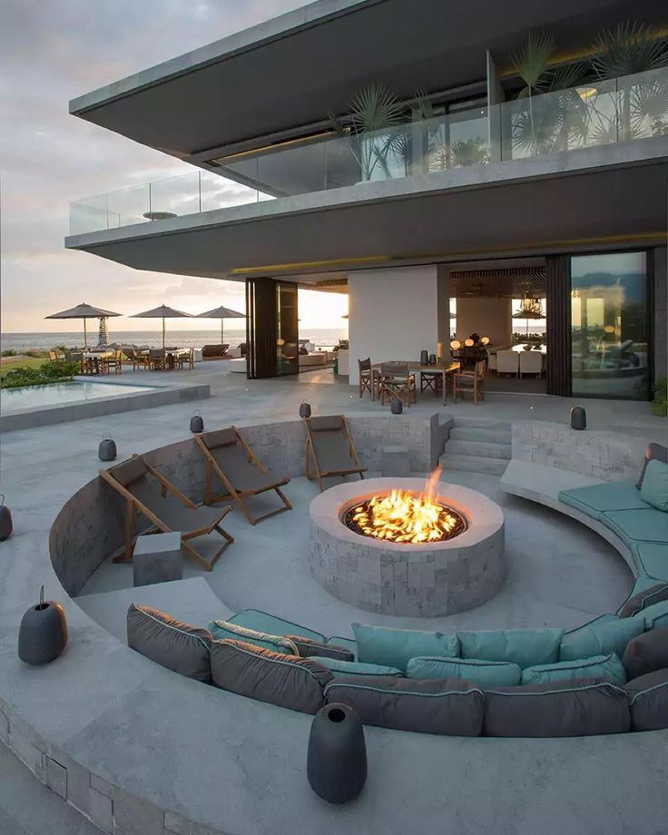 """""""The #VallartaHouse designed by @ezequielfarca features this gorgeous recessed #firepit complete with outdoor seating. \\\ Photo by Jaime Navarro"""""""