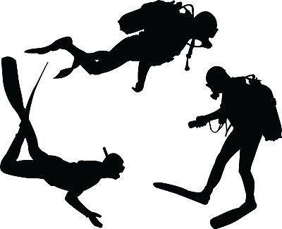 Scuba Divers Silhouette Vinyl Wall Art Sticker Diver Diving Club Present Gift
