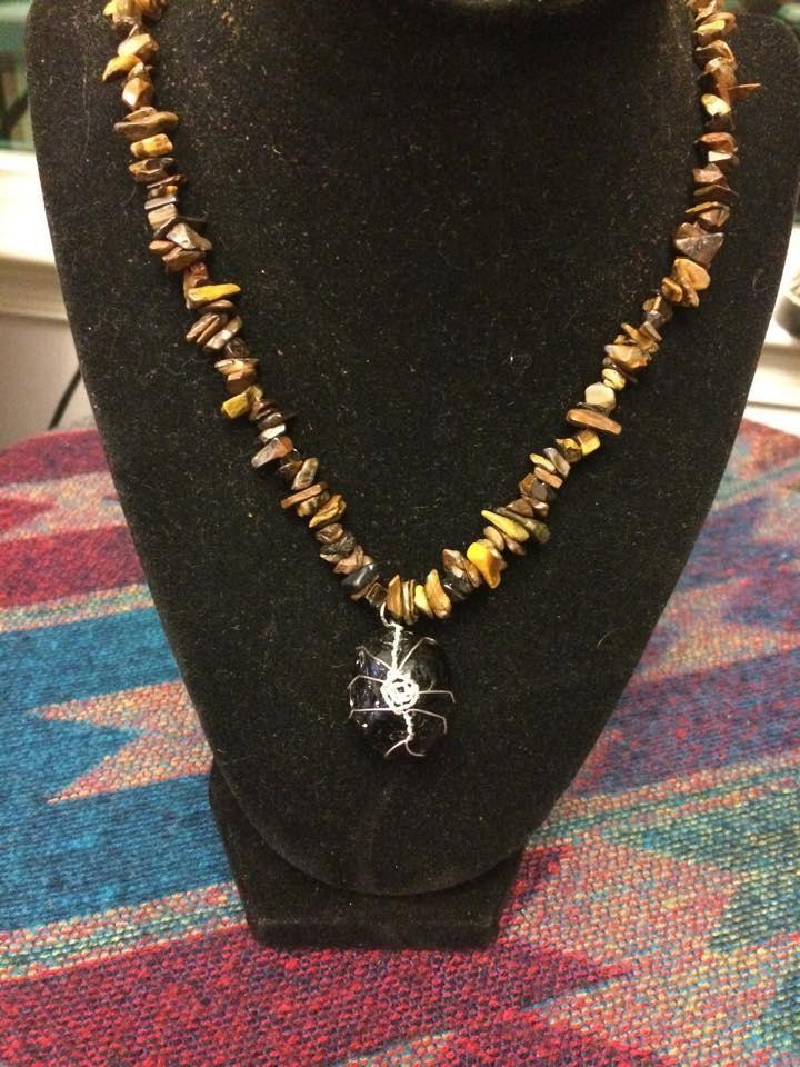 Apache tear on 19 inch tiger eye beaded necklace by WyrdWytchWayz on Etsy