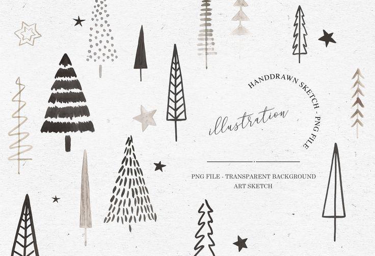 Watercolor Xmas Tree Bundle Xmas Drawing Tree Sketches Xmas Tree