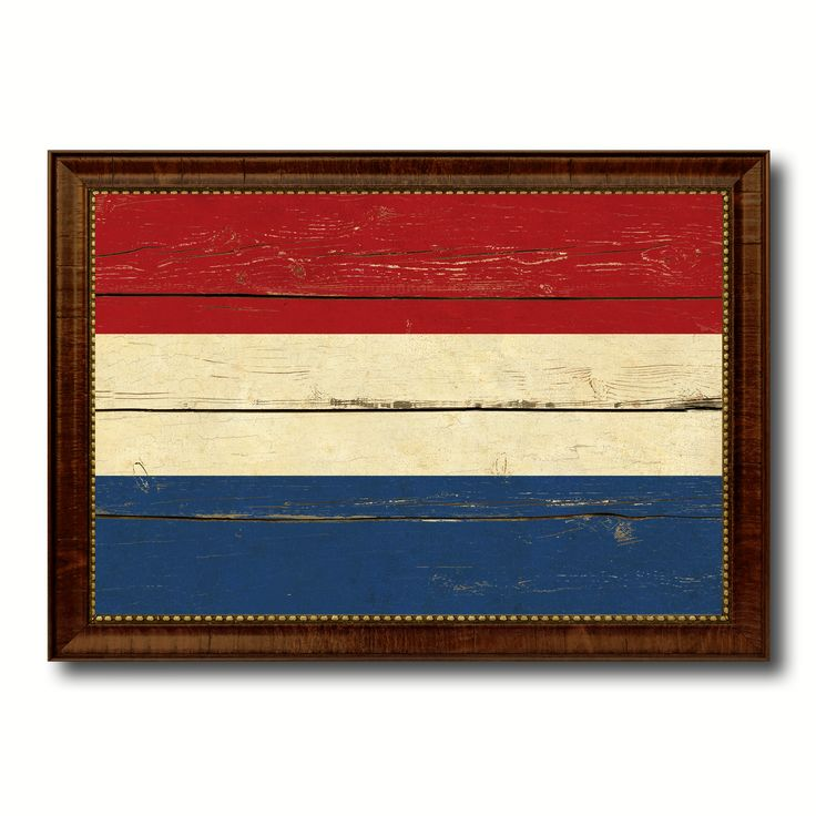 Netherlands Country Flag Vintage Canvas Print with Brown Picture Frame Home Decor Gifts Wall Art Decoration Artwork