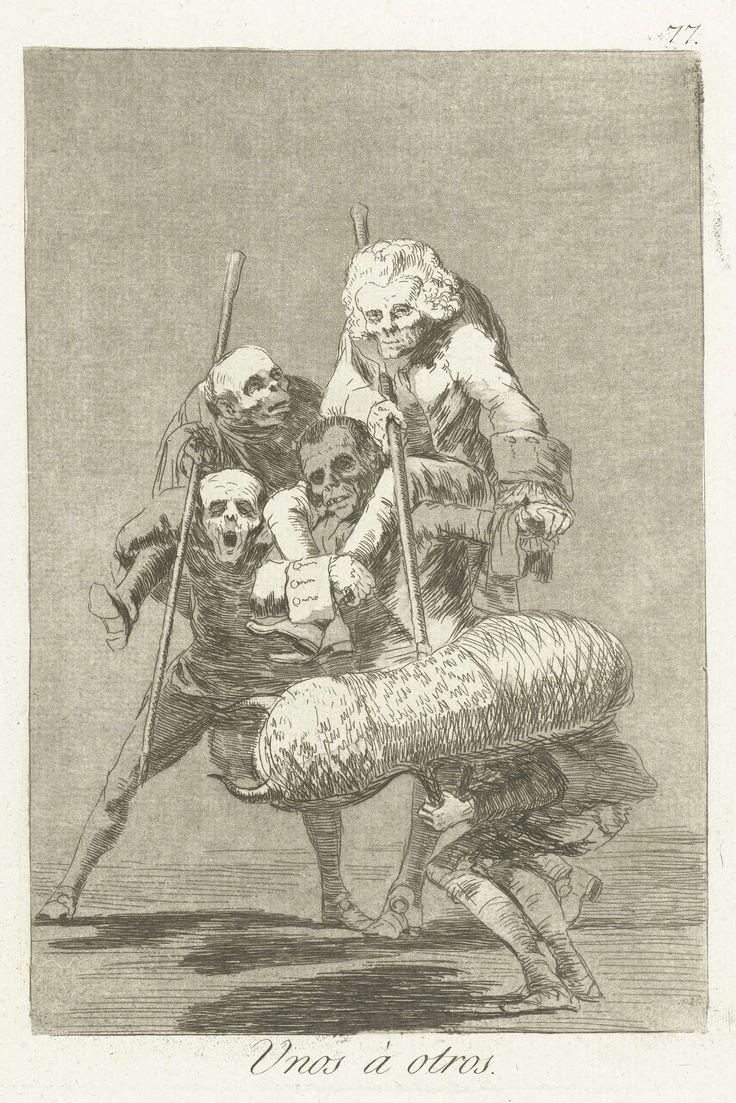 Francisco José de Goya y Lucientes | De een tegen de ander, Francisco José de Goya y Lucientes, 1797 - 1799 | Een man vermomd als stier, wordt aangevallen door twee mannen met lansen. Zij rijden als picadors op de ruggen van twee andere mannen. Zevenenzeventigste prent uit de serie Los Caprichos.