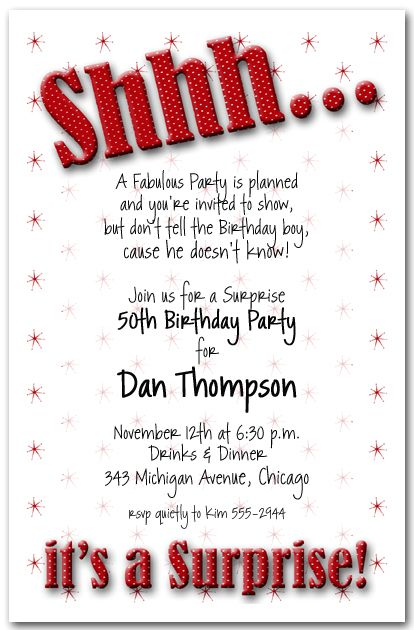 adult male surprise birthday invitations | Shhh... Red Polka Dot Surprise Birthday Party Invitations