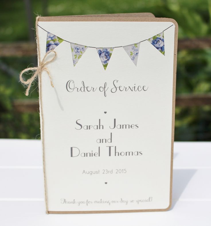 Wedding Booklet Order Of Service Bunting Program Shabby Chic