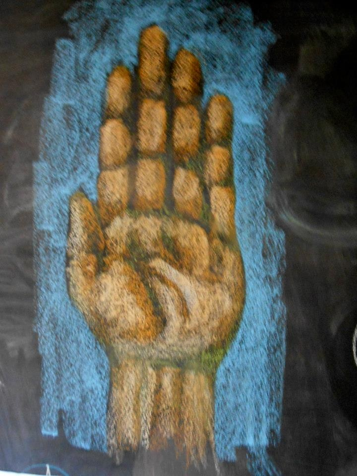 Waldorf ~ 8th grade ~ Human Anatomy ~ Hand ~ chalkboard drawing