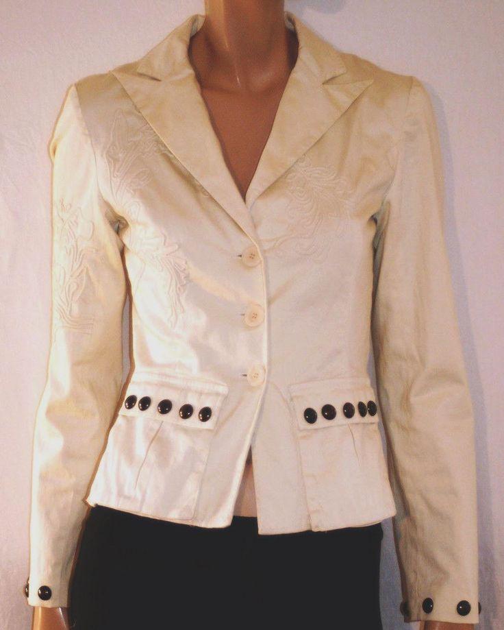 "Gorgeous Ivory White Cotton Woman Blazer Jacket ""Class"" by  Roberto Cavalli Giacca Blazer Donna Cotone Bianco Avorio Ricamata Taglia 40/42 di BeHappieWorld su Etsy"