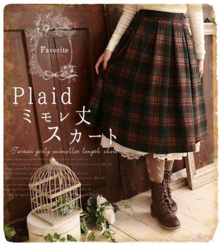 Japanese Mori Girl Tartan Plaid Skirt Sweet Lolita Woolen Skirts Preppy Style